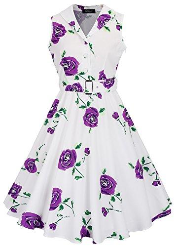 RUIYIGE Damen Kleid White Rose-Purple
