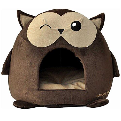 """nanook """"Sweety"""" – Hundehöhle Katzenhöhle – mit großem Kissen, wasserabweisend, rutschfest, Größe M (42 x 42 x 36 cm) – Motiv: Eule - 5"""