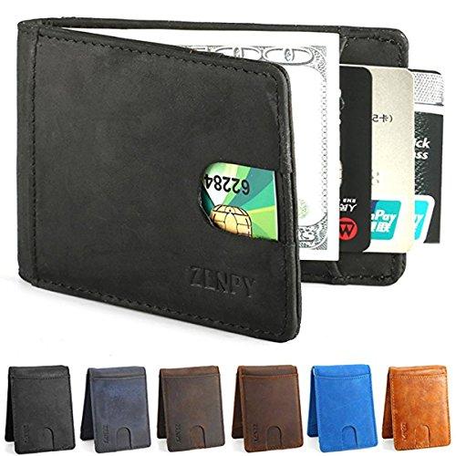 Zenpy Leder Geld Clip Geldklammer Kreditkartenetui RFID Blocker Schlankes und modisches Design Portemonnaie-- aus Crazy Horse Vollnarben-Leder