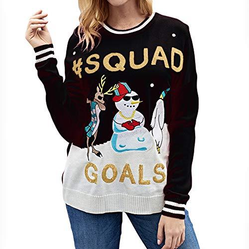 Femmes Noël Blouses Tops Pull Lettre Animal Impression Chapeau de Noël Manches Longues Mode Chic Mode Élégant Grande Taille, QinMM Mode Ville Couple Hommes Sweatj-Shirt