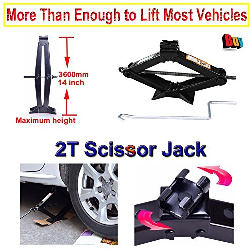 Schere Jack 2Tonne Tonne mit Griff für Motorrad Autos Wohnwagen Honda Jazz, Reifen Reparatur Tools Lift Buben (Hohe Qualität 5Jahre Garantie)