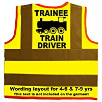 Trainee Train Driver Baby/Children/Kids Hi Vis Safety Jacket/Vest Sizes 0 to 8 Years Optional Personalised On Front