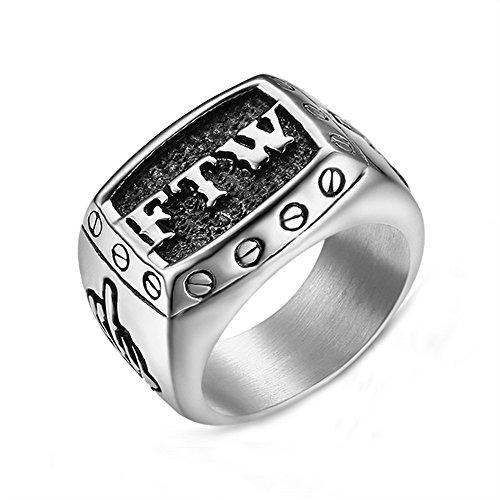 Herren Titan Stahl FTW Brief Heben Mittelfinger Schleichen Ausführung Ringe,Silber,Größe 65(20.7)