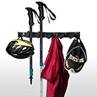 Broom Holder Mop Holder Premium Quality Tool Rack Organizer Wall Mounted 5 Position 6 Hooks Holds up to 11 Tools Like Brooms Mop and Sport Equipment Storage Solution for Your Garage Home Closet Shed