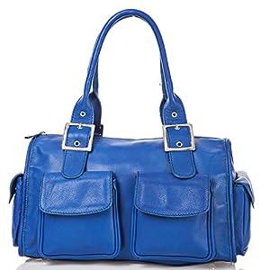 italienische Damen Henkeltasche Stockholm aus echtem Leder in royal blau, Made in Italy, Handtasche 37x23 cm