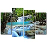 Yearainn Canvas Prints Water Stream 4 Panels Green Dreamlike Waterfall Picture Wall Art Print on Canvas 4A031 by yearainn