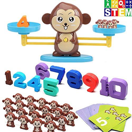 Pywee Monkey Digital Scales Toy Balance de educación temprana Niños Educación Digital Suma y resta Digital Math Scales Toys