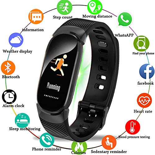 MKO Sport Smart Armbanduhr Fitness Tracker Wasserdicht Smart Watch Herzfrequenz Blutdruck Schrittzähler Smart Wristband Für Android Ios,Schwarz