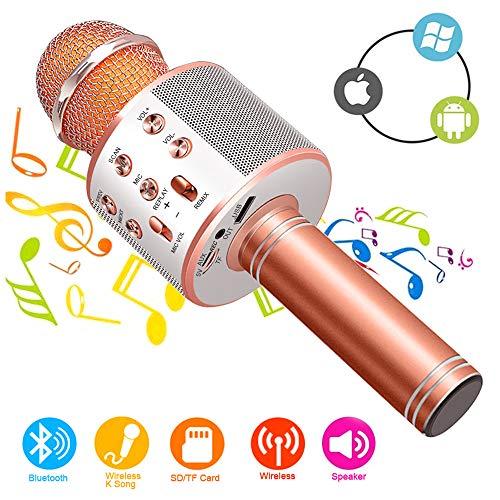 Bluetooth Karaoke Mikrofon Drahtlose Maschine, tragbare Hand-Karaoke Bluetooth Hand Karaoke Lautsprecher Spieler Maschine für Kinder Erwachsene steuern KTV-Partei für Android/Iphone/Ipad/Pc (Rose red)