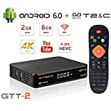 GT Media GTT-2 Decoder Digitale Terrestre HD Android 6.0 TV Box DVB-T2/Cavo/ISDBT Ricevitore, Amlogic S905D 2GB+8GB Quad Core, 4K/H.265/MPEG-4 WiFi 2,4G, Compatibile con CC cam YouTube GTplayer