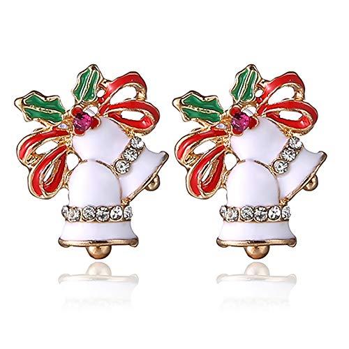 TONVER Weihnachts-Ohrringe, 1 Paar, vergoldet, Weihnachtsfest, Modeschmuck für Frauen und Mädchen White Bell (Weihnachtsbaum Ideen Trendy)