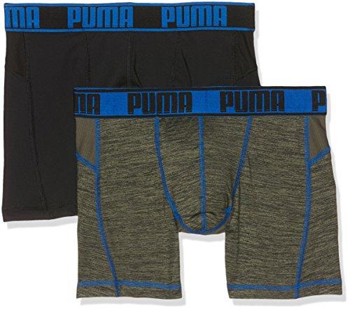 Puma Herren Unterwäsche Active Grizzly Melange Boxer 2P Packed, Olive/Blue, L, 671018001