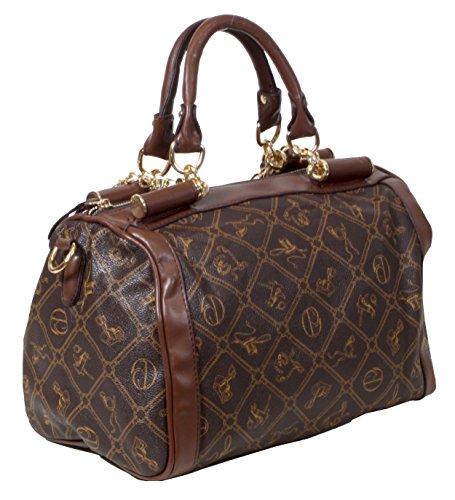 Dobbiaco - länglicher Shopper MUST HAVE Handtasche mit Ketten All-over Muster ca. 32x22x19 cm (B x H x T)