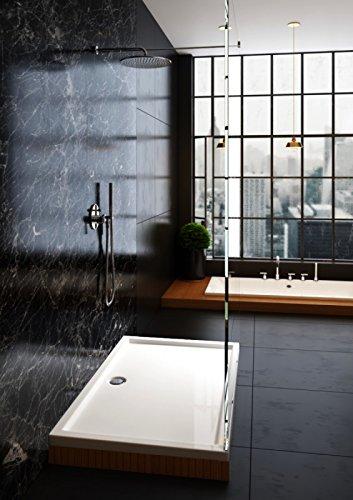 Galdem Duschwanne 160x90x4cm Rechteck Eckig Flach Wanne Hochwertige Duschtasse aus Acryl für Duschabtrennung Duschkabine