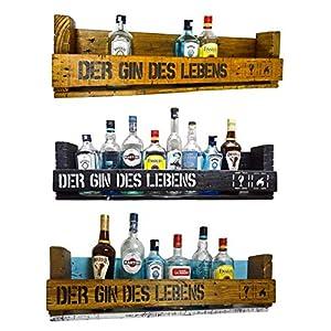 """"""" Der Gin des Lebens"""" SHaBBY ViNTaGe PaLeTTeNReGaL (HxLxT: 23x8ox9,5cm) im Frachtkisten Style aus Echtholz Gin Rum Whisky Wein Regal Wandbar. personalisierbar"""