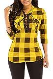 KISSMODA Damen Trendy Low Cut Kariertes Hemd 3/4 Ärmel Bluse Tops Gelb X-Large
