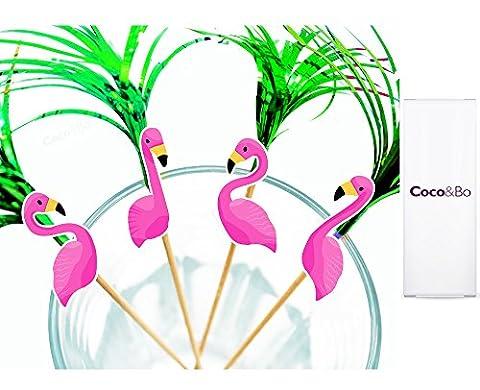 8 x Coco&Bo - Beach Party Pink Flamingo Party - Idéal pour les Cocktails,, desserts, cupcakes et décorations Motif floral Motif Tropical Tiki Partyrama Luau Décorations de table