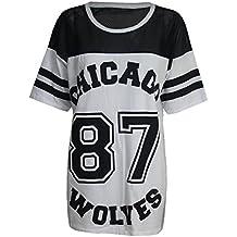 88dd92d53e5b Baseball-T-Shirt für Damen, Chicago Wolves (87), Übergröße,