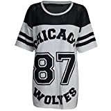 Damen T-Shirt Chicago 87 Wolves Lockeres Übergroßes Baseball T-Shirt Kleid Langes Top - M/L (EU 40/42), Grau