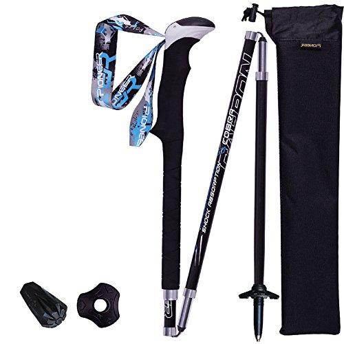 Meijunter Superleichter Carbon Teleskop TrekkingStöcke für Draussen Berg Klettern Sport Wanderungen(38.5-125) (Trekkingstock Superleichter)