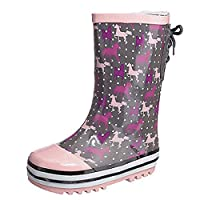 Tack N Hack Childs Girls Fleece Lined Snow Rain Walking Wellington Boots Size 8-2