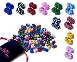 10 Paare hochwertige Seidenknoten Manschettenknöpfe im Set für Herren & Damen | einfarbig & zweifarbig in rot, blau, grün, gelb, pink, schwarz, weiß