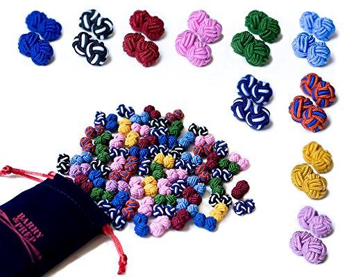10 Paare runde Seidenknoten Manschettenknöpfe im Set, einfarbig & zweifarbig in Trendfarben sowie einem edlen Samtbeutel zur Aufbewahrung, besonders elegantes Geschenk für Herren und Damen (Ein-knopf-seide-anzug)