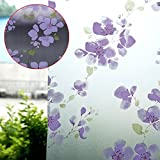 60X200cm Window PVC Frosted Glass Film Privacy Flower Window Waterproof Adhesive Privacy Glass Sticker for Home Decoration Purple