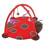 UEETEK Aktivität Matte mit Spielzeug, Haustier Spielzelt Spieldecke für Baby Hund Katze Kleine Tiere (Marienkäfer)