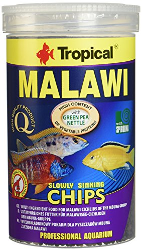 Aquatic Paradise Tropical Malawi Mbuna Chips Special for Malawi Slowly Sinking - Multi-Ingredient Food for Daily Feeding 1000 ml/520G