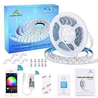 WiFi LED Strip Lights, ALED LIGHT Waterproof 5050 5M 300 LED Rope Lights Smartphone APP Controlled RGB Intelligent LED Light Work with Alexa, Google Home for Home Outdoor Decoration[Energy ClassA+]