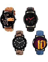 Stysol Blue, Black & Brown Leather Analog Watches For Men And Boys Combo Of 4 STY-WT-237