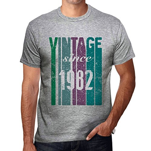 1982, Vintage Since 1982 Herren T-shirt Grau Geburtstag Geschenk 00504 (T-shirt 1982 Vintage Herren)