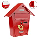 Cablematic - Cassetta delle lettere casella postale e posta metallico di colore rosso da parete 366 x 100 x 370 m
