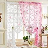 Sharplace Schmetterling Vorhang Fadenvorhang Jacquard Tür Fenster Scheibe Raumteiler Quaste 200cm x 100 cm - Weiß
