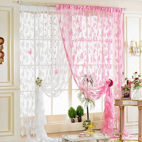 Sharplace Schmetterling Vorhang Fadenvorhang Jacquard Tür Fenster Scheibe Raumteiler Quaste 200cm x 100 cm - - Baby-mädchen-kinderzimmer-fenster-vorhang