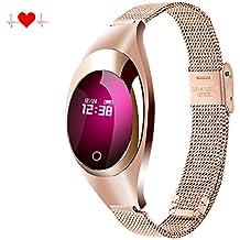 newyes nbs06sangre presión Smart reloj Lady Fitness Tracker Mujer gestión inteligente de pulsera con pulsómetro spo2h sueño podómetro para Android IOS Smartphone, dorado