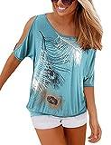 Yidarton Sommer Frauen Bluse weg von der Schulter Short Sleeve Feder Druck Muster Jumper Tops Pullover T-Shirt, türkis, XXL