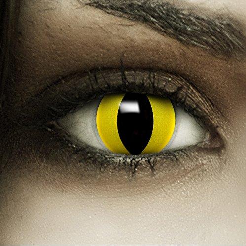 """Farbige gelbe Kontaktlinsen """"Katze"""" + Kunstblut Kapseln + Behälter von FXCONTACTS®, weich, ohne Stärke als 2er Pack - perfekt zu Halloween, Karneval, Fasching oder Fasnacht"""
