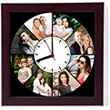 Generic Personalised Round Photo Clock Framed Collage for Gifting (12x12inch, Brown)