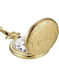 Mudder Reloj de Bolsillo de Cuarzo de Acero Inoxidable Vintage Dorado con Cadena de Collar