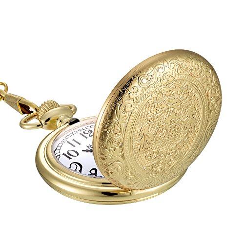 Golden Vintage Edelstahl Quarz Taschenuhr mit Halskette Kette