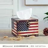SQBJ Im amerikanischen Stil, retro, Leder, Leder, Leder, Leder, Leder, Papier, Servietten, Holz Zylinder und Serviette, Amerikanische Flagge