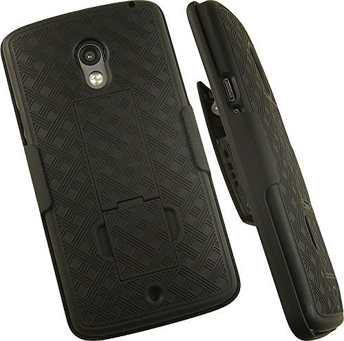 nakedcellphone 's Black Rubberized Ständer Hard Case Cover + Belt Clip Holster Ständer Combo für Verizon Motorola Droid Maxx 2Telefon (xt1565xt1561xt1562xt1563) (Aka Moto X Play) Clip Hard Case Cover