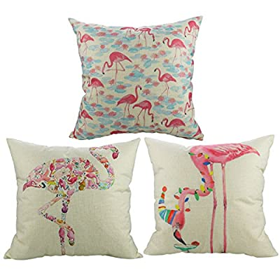 "Luxbon Set of 3Pcs Fashion Pink Flamingo Cushion Cover Durable Cotton Linen Throw Pillow Case Girls, Childrens Gifts 18""X18"" 45x45cm - cheap UK light store."