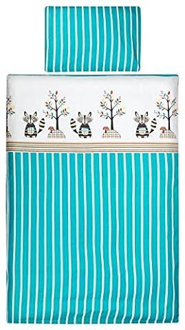 Aminata Kids – gestreifte Bettwäsche 100x135 cm Kinder Mädchen Jungen Waschbär Tiere Baumwolle Reißverschluss Kinderbettgröße Türkis Blau Weiß Fuchs Bär Streifen Kinderbettwäsche Ganzjahres (Blaue Gestreifte Kissen)