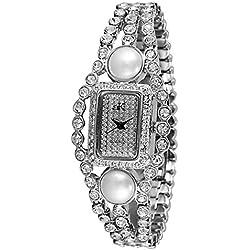 Adee Kaye Fame Damen Silber Keramik Armband Keramik Gehäuse Uhr AK9-70L/CR