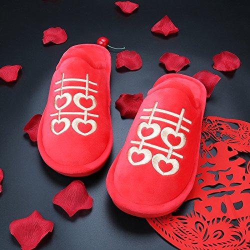 Fankou Hi parola rosso cotone pantofole giovane lussuoso piano piano home wedding wedding pantofole in autunno e inverno 731 braun