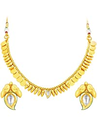 Sukkhi Stylish Laxmi Temple Coin Gold Plated Kundan Necklace Set For Women