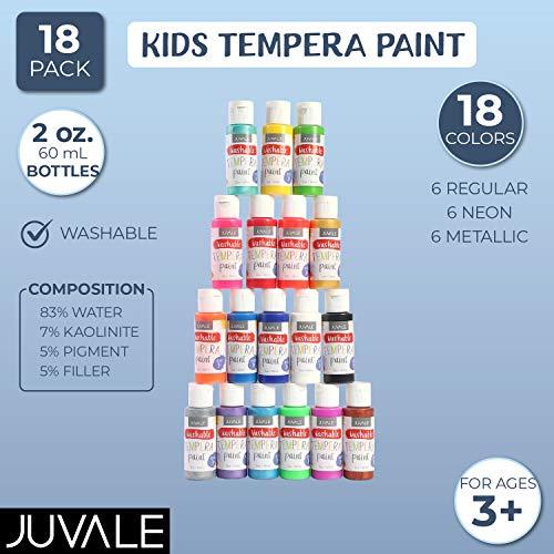 Juvale Juego de Pintura Tempera Lavable para niños (2 onzas,  Multicolor,  18 Unidades)